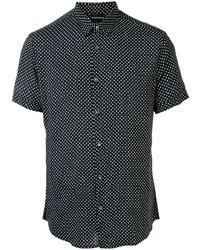Chemise à manches courtes á pois noire et blanche Emporio Armani