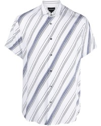 Chemise à manches courtes à rayures horizontales blanc et bleu Emporio Armani