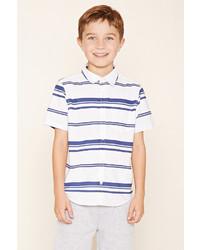 Chemise à manches courtes à rayures horizontales blanche