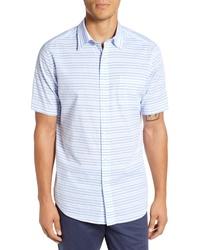 Chemise à manches courtes à rayures horizontales bleu clair