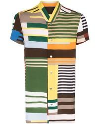 Chemise à manches courtes à rayures horizontales multicolore Rick Owens