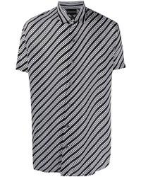 Chemise à manches courtes à rayures horizontales noire Emporio Armani
