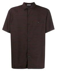 Chemise à manches courtes à rayures horizontales noire Lanvin