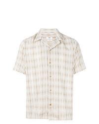 Chemise à manches courtes à rayures verticales beige