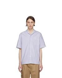 Chemise à manches courtes à rayures verticales blanc et bleu marine