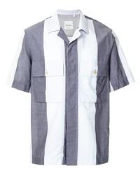 Chemise à manches courtes à rayures verticales blanc et bleu marine Paul Smith