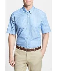 Chemise à manches courtes à rayures verticales blanc et bleu