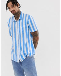 Chemise à manches courtes à rayures verticales blanc et bleu Another Influence
