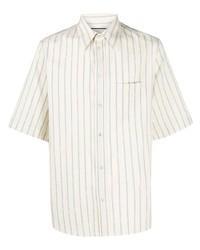 Chemise à manches courtes à rayures verticales blanc et bleu Gucci