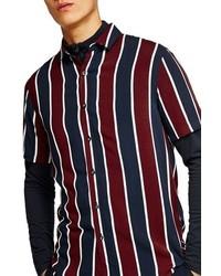 Chemise à manches courtes à rayures verticales blanc et rouge et bleu marine
