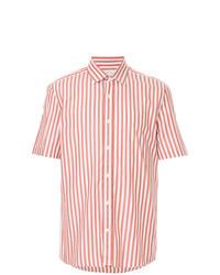 Chemise à manches courtes à rayures verticales blanc et rouge