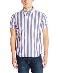 Chemise à manches courtes à rayures verticales blanche