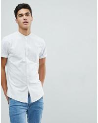 Chemise à manches courtes à rayures verticales blanche ASOS DESIGN