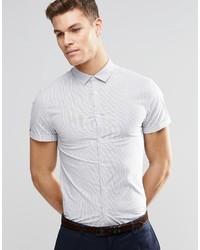 Chemise à manches courtes à rayures verticales blanche Asos