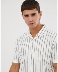 Chemise à manches courtes à rayures verticales blanche Bellfield