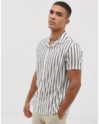 Chemise à manches courtes à rayures verticales blanche Burton Menswear