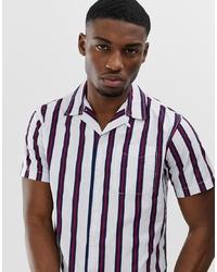 Chemise à manches courtes à rayures verticales blanche Jack & Jones