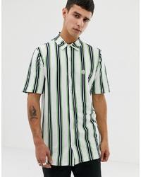 Chemise à manches courtes à rayures verticales blanche Le Breve