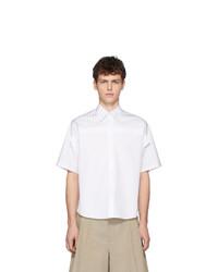 Chemise à manches courtes à rayures verticales blanche Maison Margiela