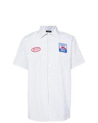 Chemise à manches courtes à rayures verticales blanche R13