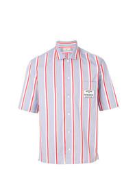 Chemise à manches courtes à rayures verticales bleu clair MAISON KITSUNÉ