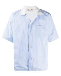 Chemise à manches courtes à rayures verticales bleu clair Marni