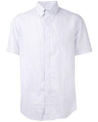Chemise à manches courtes à rayures verticales bleu clair Michael Bastian