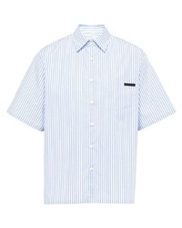Chemise à manches courtes à rayures verticales bleu clair Prada