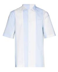 Chemise à manches courtes à rayures verticales bleu clair Salvatore Ferragamo