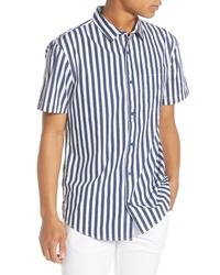 Chemise à manches courtes à rayures verticales bleu marine et blanc