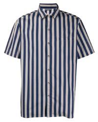 Chemise à manches courtes à rayures verticales bleu marine et blanc Lanvin