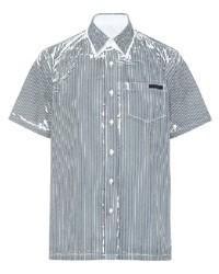 Chemise à manches courtes à rayures verticales bleu marine et blanc Prada