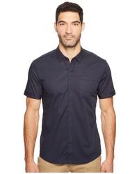 Chemise à manches courtes à rayures verticales bleu marine