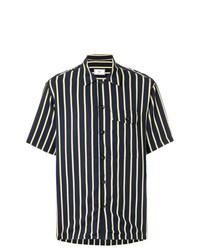 Chemise à manches courtes à rayures verticales bleu marine AMI Alexandre Mattiussi