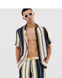 Chemise à manches courtes à rayures verticales bleu marine ASOS DESIGN