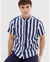 Chemise à manches courtes à rayures verticales bleu marine Burton Menswear
