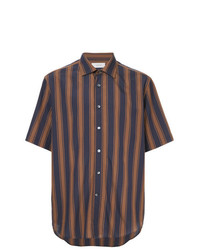 Chemise à manches courtes à rayures verticales bleu marine Cerruti 1881