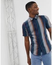 Chemise à manches courtes à rayures verticales bleu marine Farah
