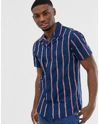 Chemise à manches courtes à rayures verticales bleu marine Jack & Jones