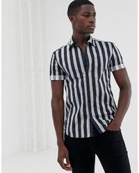 Chemise à manches courtes à rayures verticales bleu marine New Look