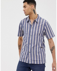 Chemise à manches courtes à rayures verticales bleu marine Nudie Jeans