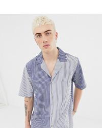 Chemise à manches courtes à rayures verticales bleu marine Reclaimed Vintage