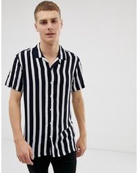 Chemise à manches courtes à rayures verticales bleu marine Threadbare