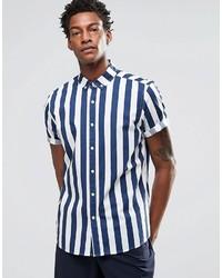 Chemise à manches courtes à rayures verticales bleue