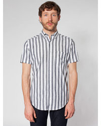 Chemise à manches courtes à rayures verticales grise