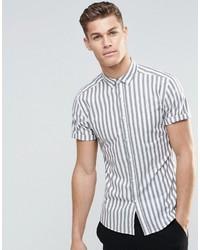 Chemise à manches courtes à rayures verticales grise Asos