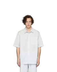 Chemise à manches courtes à rayures verticales grise Han Kjobenhavn