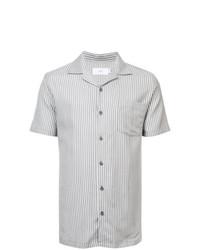 Chemise à manches courtes à rayures verticales grise Onia