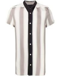 Chemise à manches courtes à rayures verticales grise Rick Owens