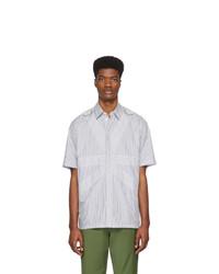 Chemise à manches courtes à rayures verticales grise Stella McCartney